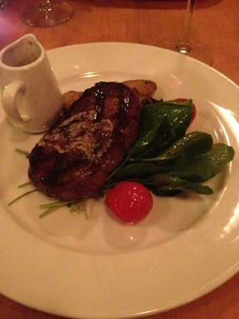 Hilltop Bistro : strip loin with Roquefort butter and demiglace