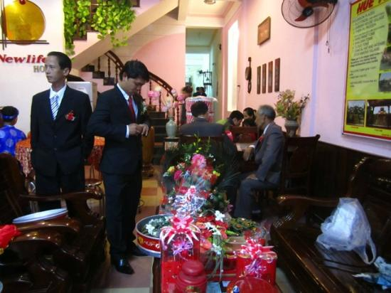 New Life Hue Hotel: Hotel lobby during the owner's son's wedding