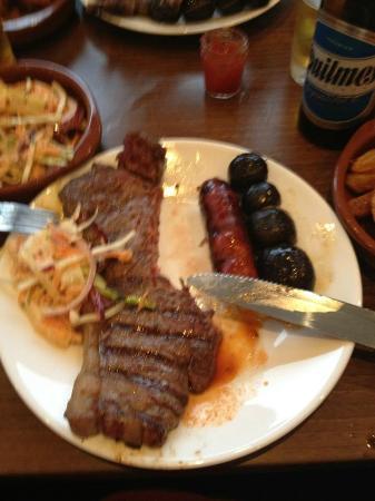 Amazing Steak, Chorizo and Black Pudding at La Vaca