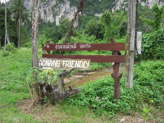 Ao Nang Friendly Bungalow: This is the sign to look for when coming down the road. It's about 30 meters from the main road