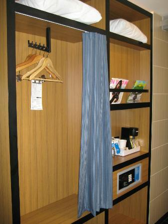 Aloft Mount Laurel: Closet space in bathroom