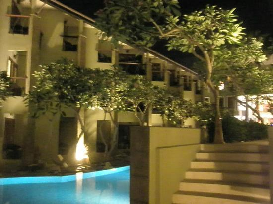 All Seasons Legian Bali: View from the end of the hotel pool area at night