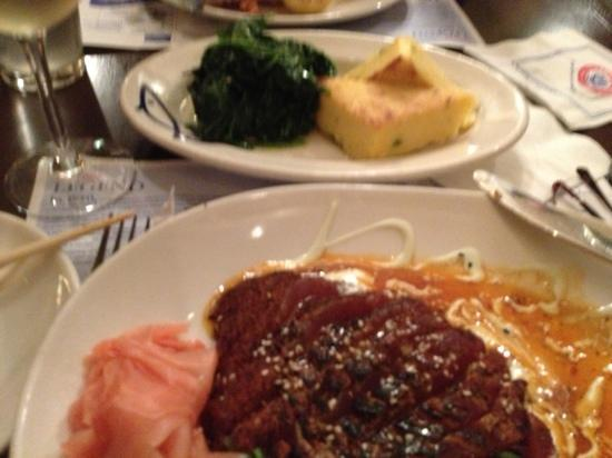 Legal Sea Foods: this picture does not do the food justice! The Tuna is out of this world and the polenta is to