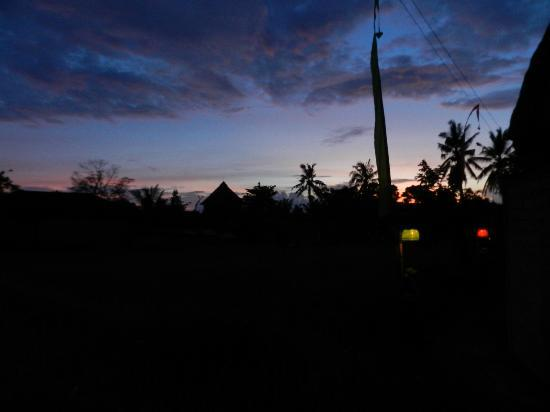 Swasti Eco Cottages: View to outside campus from main entrance by night