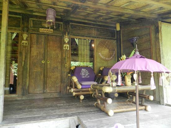 "Swasti Eco Cottages : Front side / terrace of traditional Javanese bungalow ""Komang"""