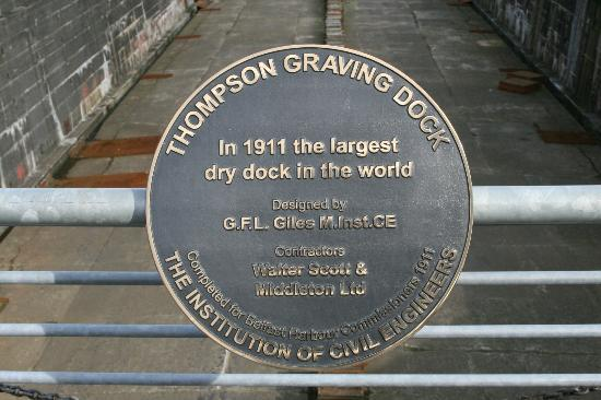 Susie Millar - Titanic Tours Belfast : A plaque in testimony to the record-breaking dry dock.
