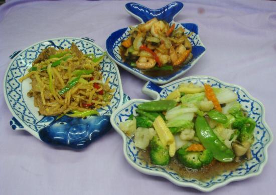 Thai Rice Restaurant: Pork Bamboo, King Prawn Ginger & Mix Veg