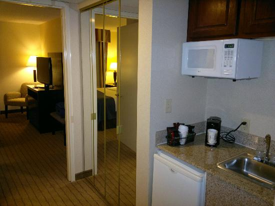 Holiday Inn Overland Park-Conv Ctr: Big Closet and microwave & fridge attached.