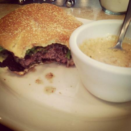 The Smokejumper Cafe: bacon cheeseburger and friday special, lobster bisque :)