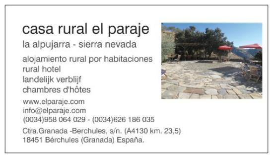 Casa Rural El Paraje: bussinescard