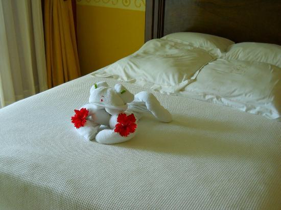 "Occidental Grand Cozumel: Every time our room was cleaned they would leave nice flowers or ""sculptures"" like this. :)"