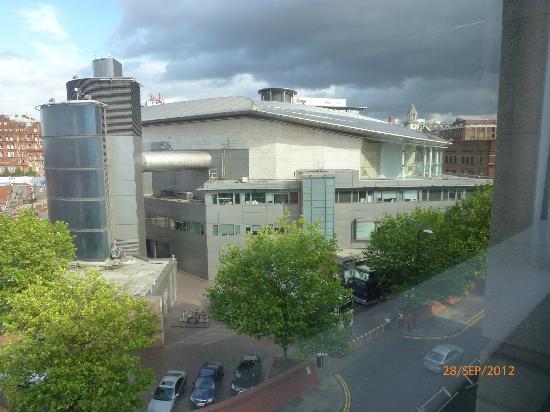 The Bridgewater Hall: rear entrance - view from Jurys Inn hotel room