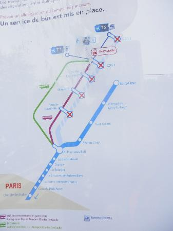 Premiere Classe Roissy - Villepinte - Parc Des Expositions: Map w/ train suspension