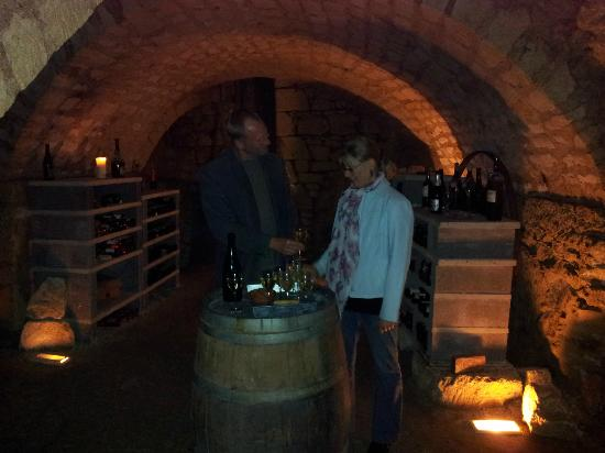 La Closerie Saint Martin : Marcel and Katharina in their wine cellar - very special!