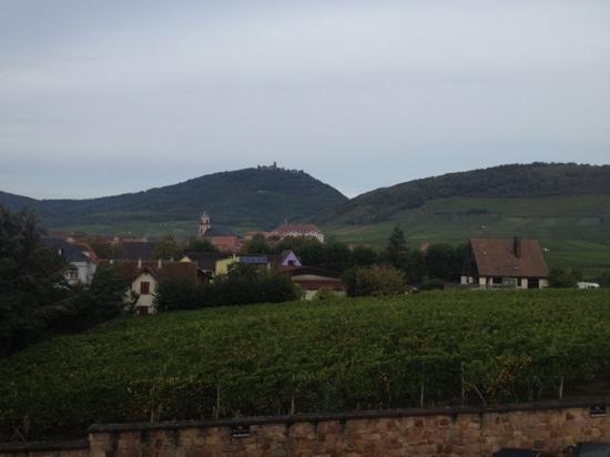 Hostellerie Munsch - Aux Ducs de Lorraine : vue du balcon, vignes et chateau du ht koenigsbourg