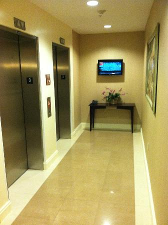 Fairfield Inn & Suites Somerset: flat panel TV outside elevator