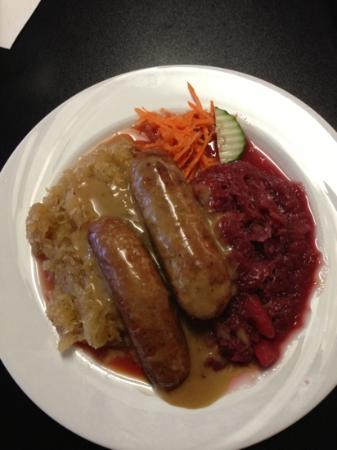 Taste of Berlin German Restaurant: Bratwurst with Red Cabbage substituted for Mashed Potatoes. Simply AWESOME.