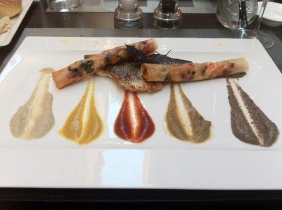 La Table: Sea Bass with five sauces. mmm!