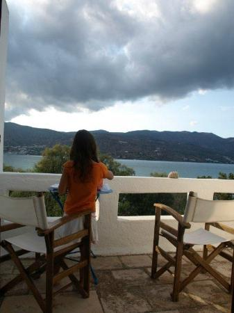 Elounda Island Villas: view from the upper level porch