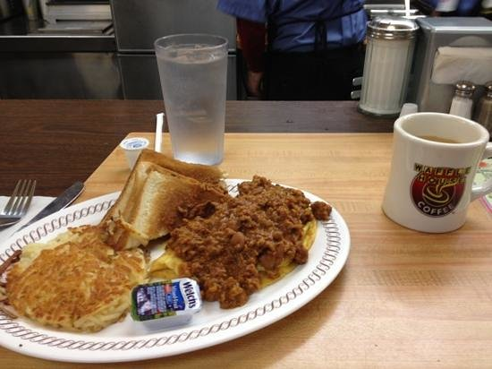 Waffle House: chili cheese omelette.