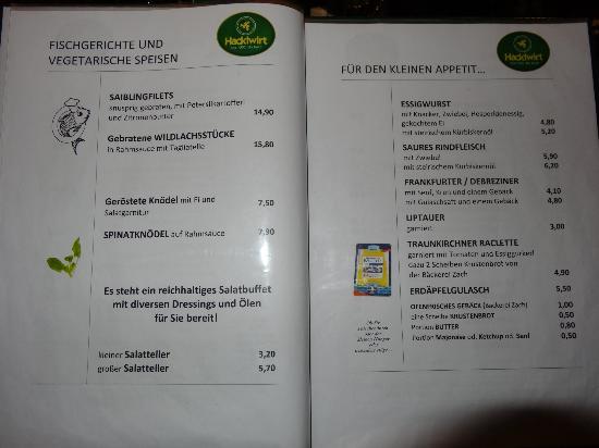 Hacklwirt : Speisekarte