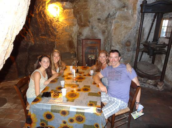 Gioia Private Tours & Trips: Sabino takes us to lunch in a cave in ancient mill in the Dying City, Umbria