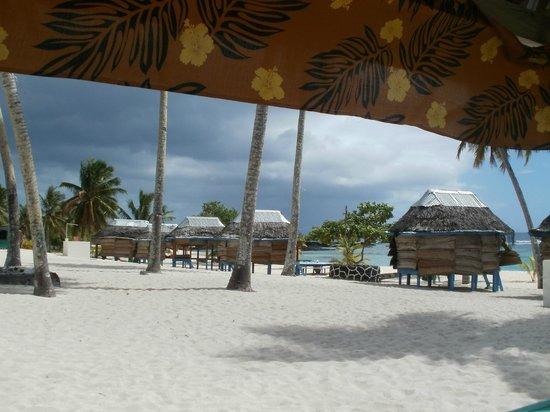 Falealupo Beach Fales: Udsigt fra spiseområdet