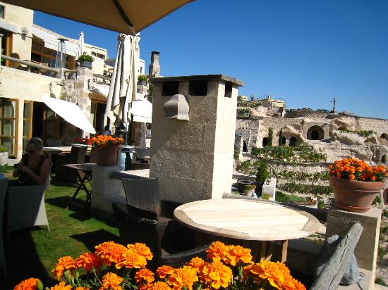 Argos in Cappadocia: view from the restaurant over garden