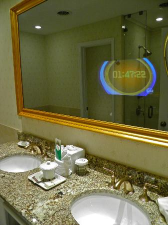 The Jefferson Hotel: Integrated vanity mirror television in junior suite room