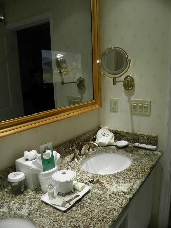 The Jefferson Hotel: Junior suite bathroom integrated mirror television and vanity
