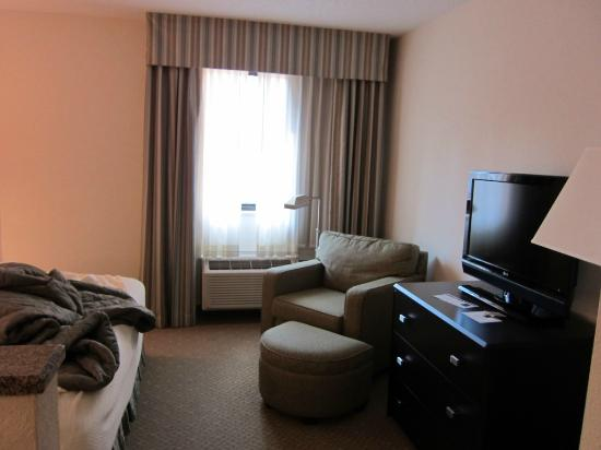 Ann Arbor Regent Hotel & Suites: tv and chair in bedroom area