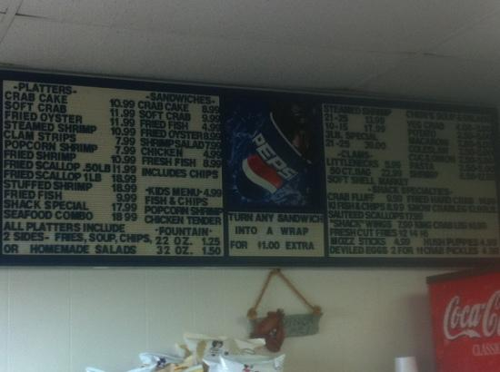 Stevensville Crab Shack: menu board