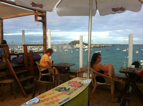 Las Marismas de Corralejo: View from roof terrace bar near the harbour in Corralejo (they make the best mojitos EVER)