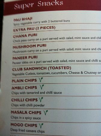 Lily's Vegetarian Indian Restaurant: Menu