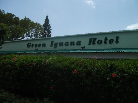 The Green Iguana Hotel: Inn sign