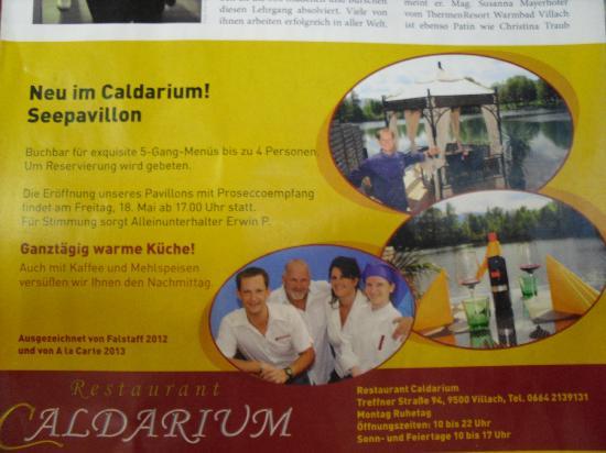 Restaurant & Cafe Caldarium: Werbung Villach exclusiv Chef,Vater,Mutter,Chefin