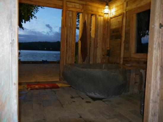 Ratua Private Island: View from our oversize bath tub