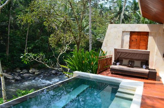 Four Seasons Resort Bali at Sayan: view of the plunge pool and Ayung river