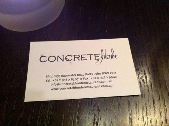 concrete Blonde: name card