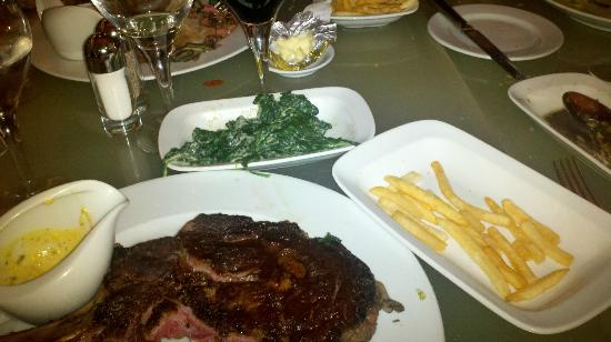 Brasserie: Creamed spinach, frites, ribeye with bearnaise
