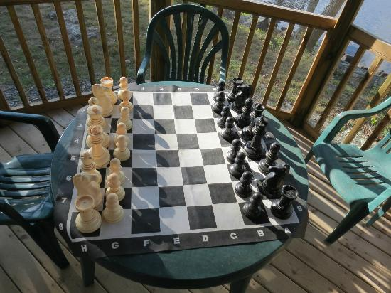 Springwood Cottages: Massive chess outside is a great way to relax and take a break from fishing.