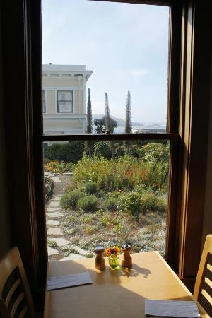 Blue Heron Inn : view of the garden from the dining room