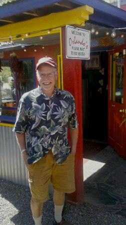 Orlando's New Mexican Cafe: Reviewer in front of Orlando's