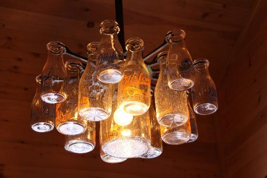 Cute chandeliers made from actual milk bottles picture of pittsford farms dairy cute chandeliers made from actual milk bottles aloadofball Choice Image