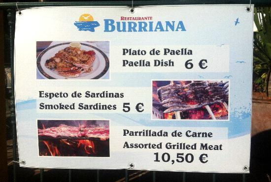 Burriana Restaurant: Restaurante Burriana - menu del dia signage