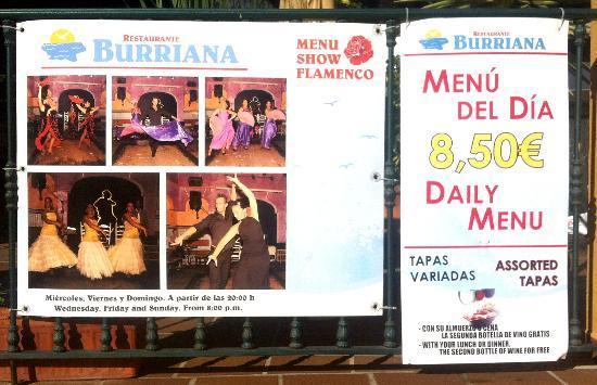 Burriana Restaurant: Restaurante Burriana - flamenco show sign