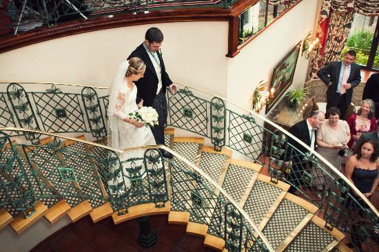 The Dunloe: Spiral staircase from reception drinks venue