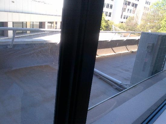 Crowne Plaza Hotel Canberra: cobwebs visible on the window Rm 244