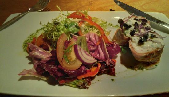 Metro Kitchen: Roast Chicken Supreme stuffed w garlic & chive cheese wrapped in parma ham, w summer salad