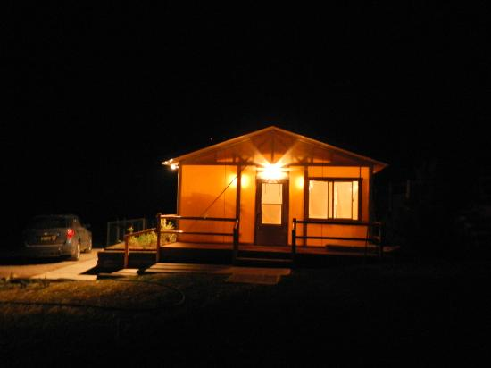 K3 Guest Ranch Bed & Breakfast: Our Glamping Tent at Night